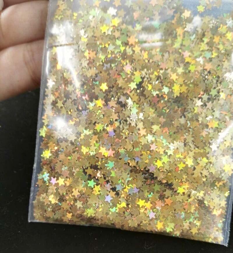 10 gramas/saco 3 mm-íris Gold star forma holográfica glitter, nail art, unhas de gel, unhas de acrílico, UV resina, material de resina.