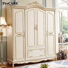 luxury European and American style bedroom furniture quality 4 doors wardrobe closets