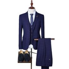 Loldeal Suit  2018 New Arrival Slim Fit Plaid Suits for Men Luxury 3 Piece Mens Wedding Groom Black Purple Navy