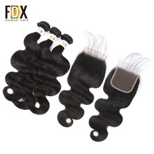 FDX cambodian hair body wave bundles with closure remy 4x4 lace closrue 130% density 8-28 inch(China)