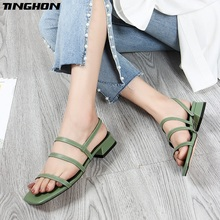 TINGHON One word with thick sandals womens fashion 2019 new summer shoes wild open toe Roman