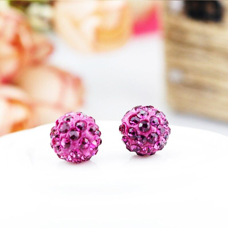ᗔ20 unids/lote Rosa caliente 10mm Shamballa Cuentas bola cristalina ...