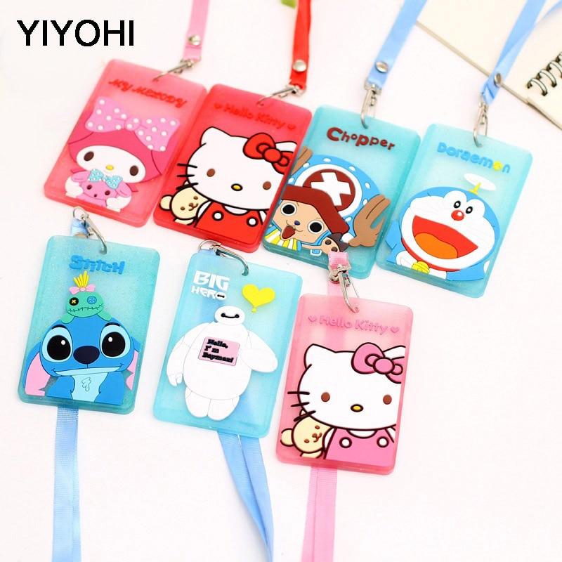 YIYOHI aranyos Chi Stitch Hello Kitty Bank Hitelkártya-tartók Unisex PVC nyakszíj kártya busz azonosító tulajdonosok Identitás jelvény Lanyard