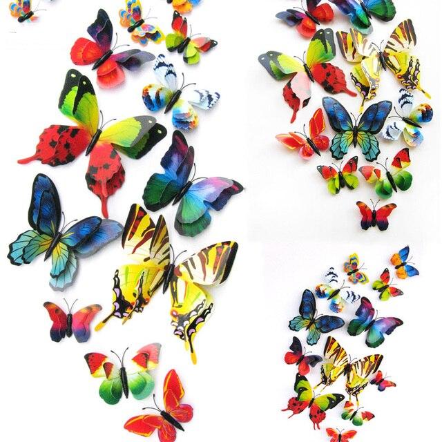 10pcs  Artificial Butterfly Luminous Fridge Magnet for Home Christmas Wedding Decoration 2