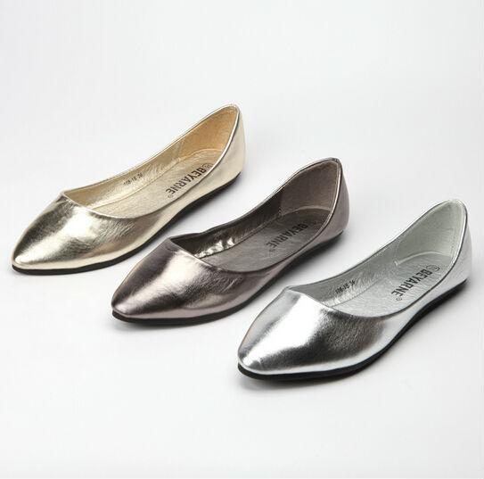 Us5-9 мода PU кожа комфорт золото серебро скольжения на бездельник женские балерина обувь