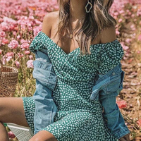 Sexy daisy print off shoulder jumpsuits summer women elegant green puff sleeve playsuit rompers beach short jumpsuits