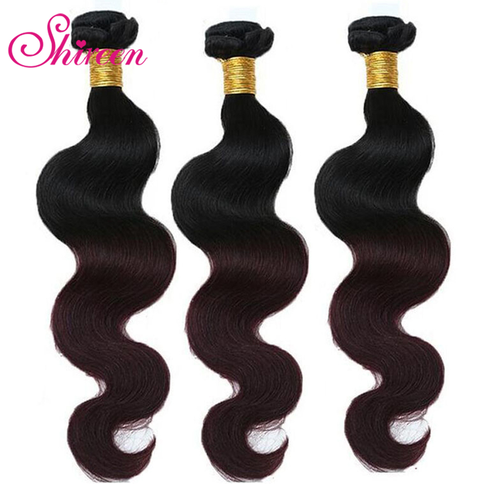 Per-colored Brazilian Body Wave Hair 3 Bundles 1b/99j Human Hair Extensions Brazillian Hair Ombre Remy Hair Weave Bundles
