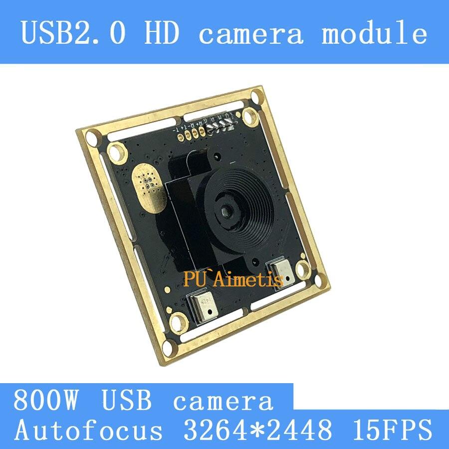 Surveillance caméra USB 2.0 8MP 15FPS Mise Au Point Automatique Double numérique microphone SONY IMX179 UVC USB caméra module pour Linux Windows