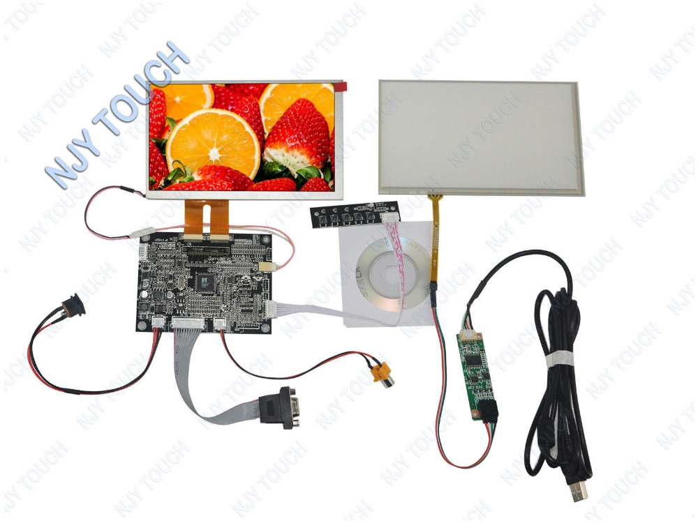 New AT070TN84 LCD Screen+AV VGA Controller Board Kit+Touch Panel Digitizer+USB Controller DIY 7 Touch Monitor купить