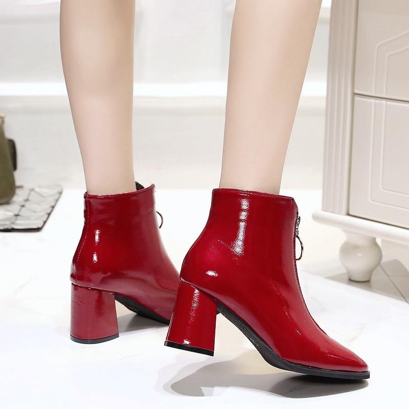 Zip red Pu Mode Chaussures Épais Femmes 35 Black Printemps Zipper 39 Automne Haut Backcamel2019 Talon Taille De Chaussons Pointu TluF1c3KJ