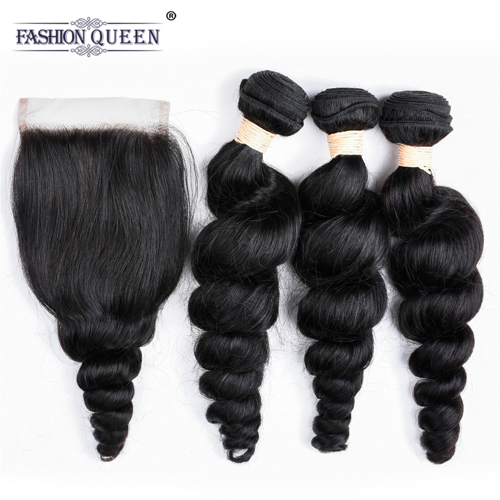 Fashion Queen Hair Loose Wave Bundles With Closure Human Hair Bundles With Closure Brazilian Human Hair Bundles With Closure