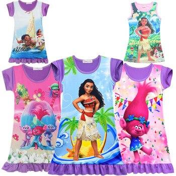 be1ecf4a3 Más las niñas vestido con Vaiana de manga corta vestidos de princesa de  verano de los niños traje de traje para niños de Moana de dibujos animados  Pijamas