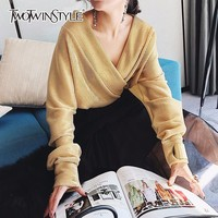 TWOTWINSTYLE Bodysuit For Women Spring Deep V Neck X Long Sleeve Sexy Jumpsuit 2018 Female Big