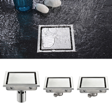 Free shipping Bathroom Grates Shower Drain Tile Insert Square Floor Waste Drain 304 Stainless Steel Large Flow Invisible Drainer