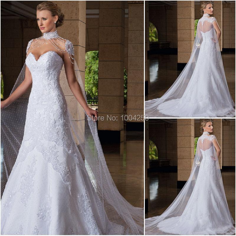 AW008 2018 Romantic High Neckline Sleeveless Applique A Line Charming White Wedding Dresses with Detachable Chapel Train Veil