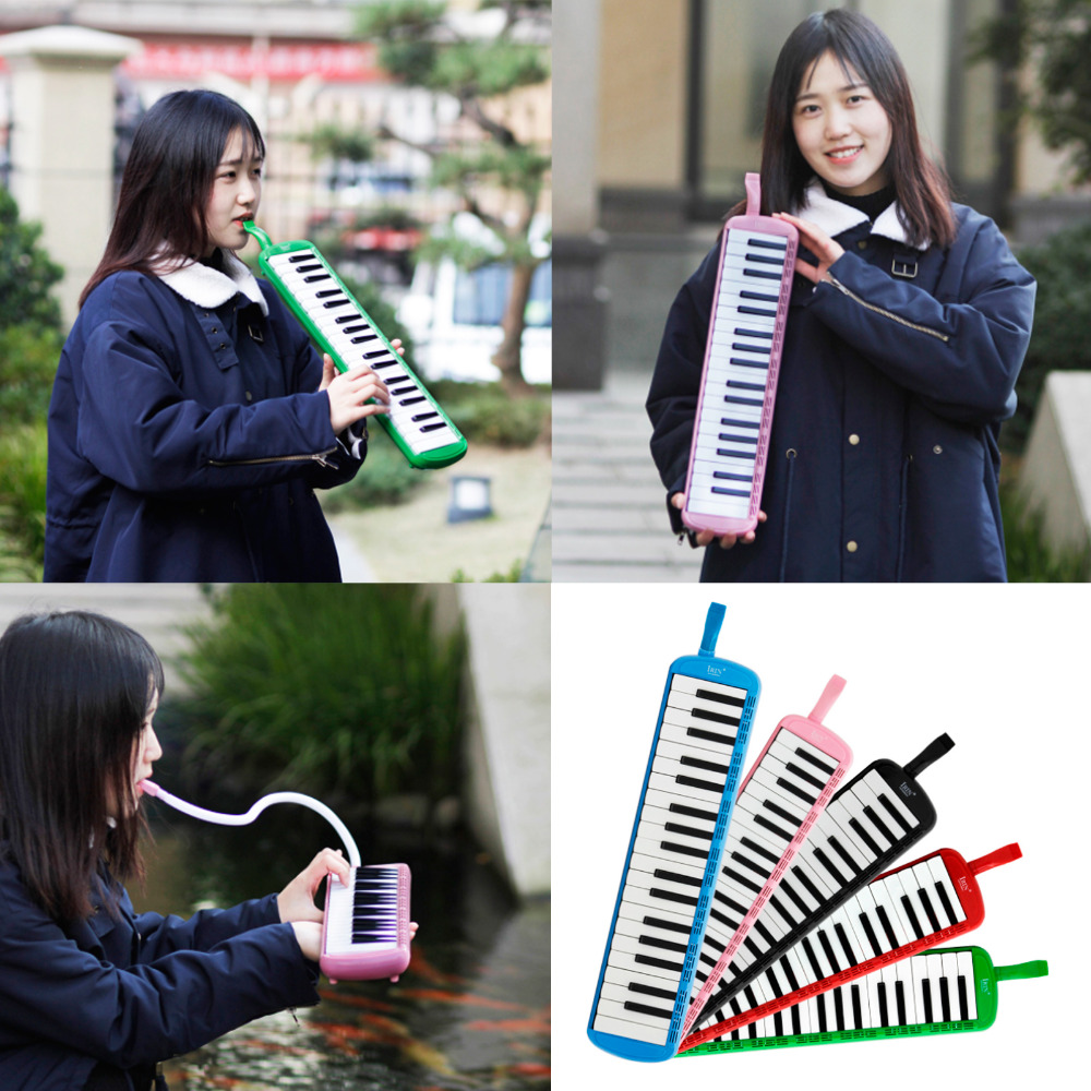 Colorful 37 Piano Style Keys Melodica With Hard Storage Case Children Students Musical Instrument Harmonica Mouth Organ