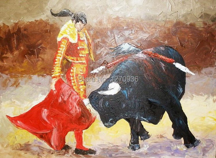 Dafen Oil Painting Village Big Wholesale Facotry Price Old Mastered Artists Handmade Oil Painting, Matador and Bull Painting