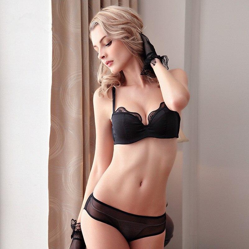Fashion Women Hot-selling Glossy Thins Sexy Lace Tube Top   Bra     Set     Bra   Female Underwear