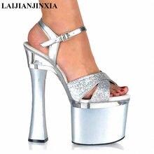 750f4eb9af LAIJIANJINXIA Sexy Sequined Fashion Supermodel Catwalk 18CM High Heels  Shoes 7 inch womens Wedding Sandals Night