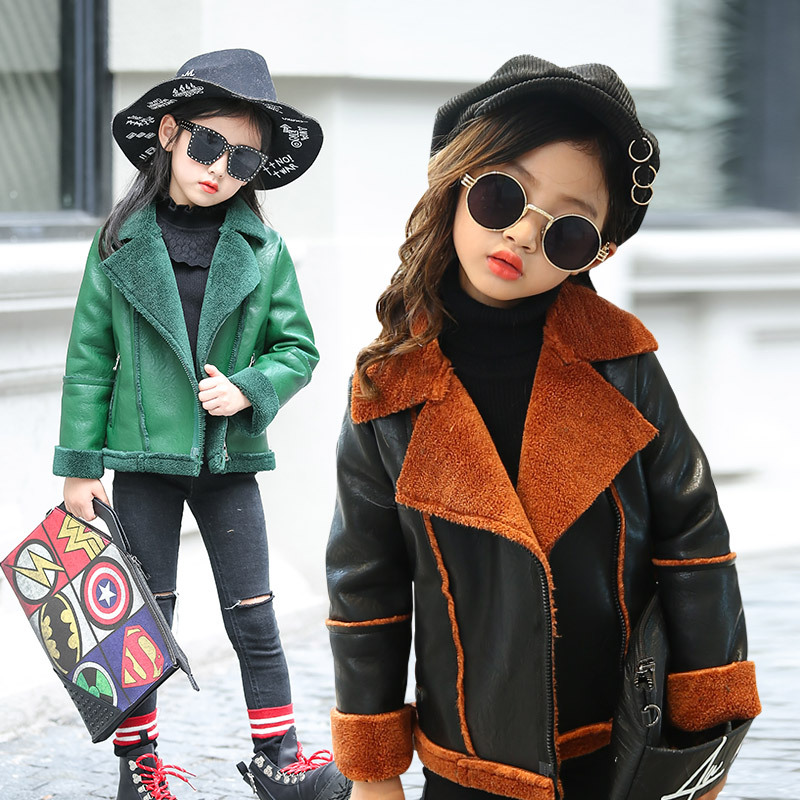4-14yrs Baby Girls Winter Coat Kids Jacket 2017 Fashion Warm Thicken Velvet Overcoat Stainless Zipper Children Leather Clothing women lady thicken warm winter coat hood parka overcoat long outwear jacket