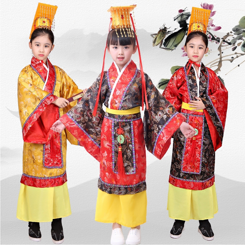 Chinese Folk Dance Humble Hanfu Boy Ancient Chinese Robes Emperor Costume King Stage Clothes Costumes Tang Suit Kids Traditional Chinese Clothing Dn2572