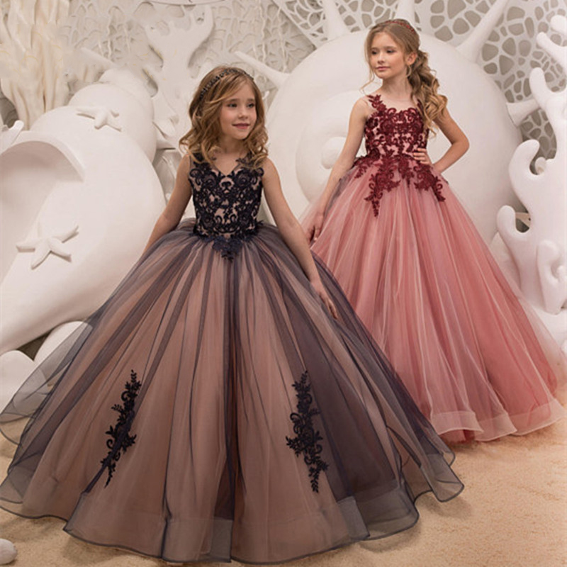 Fancy Tulle Girls Pageant Dress Butterfly Applique Pink Kids Sleeveless Evening Prom Party Gowns Communion Dresses