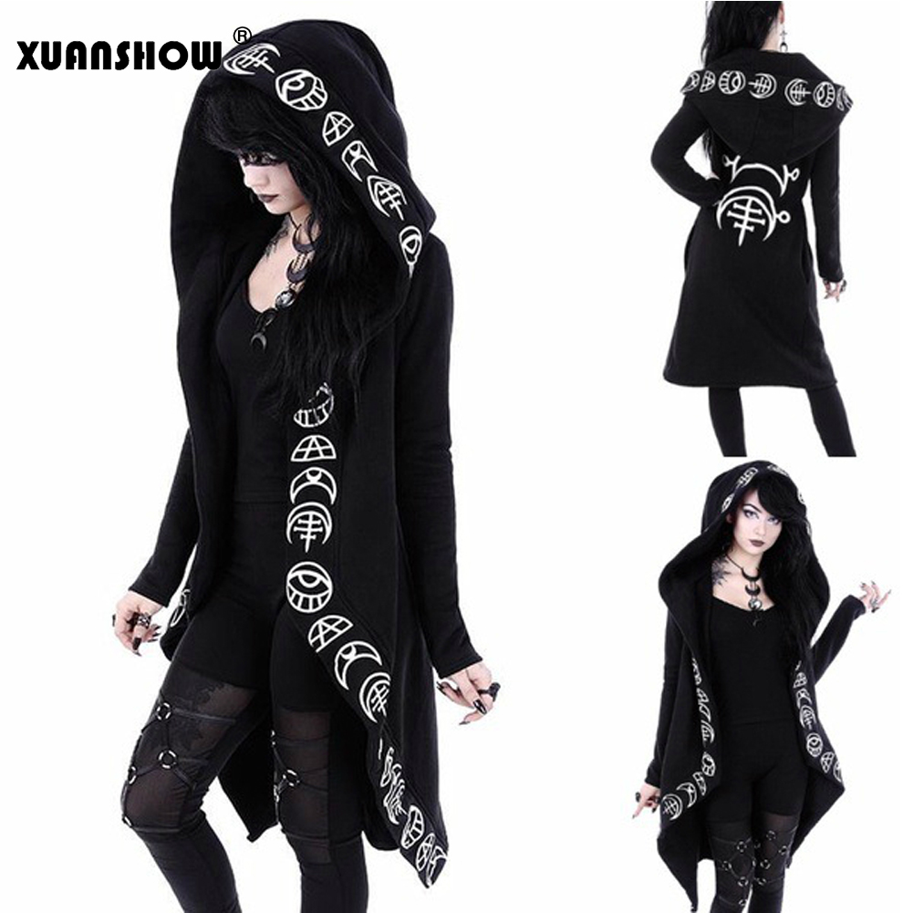 Women's Clothing Lovely New Punk Style Black Sweatshirts Womens Big Hat Moon Letter Print Long Sleeve Hoodies 5xl 2018 Autumn And Winter Casual Blouse