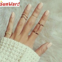 Ring jewelery Gussy Life New Fashion Wholesale 6pcs/Set Gold Urban Rings Crystal Above Knuckle Stacking Band Mid Dropshipping(China)
