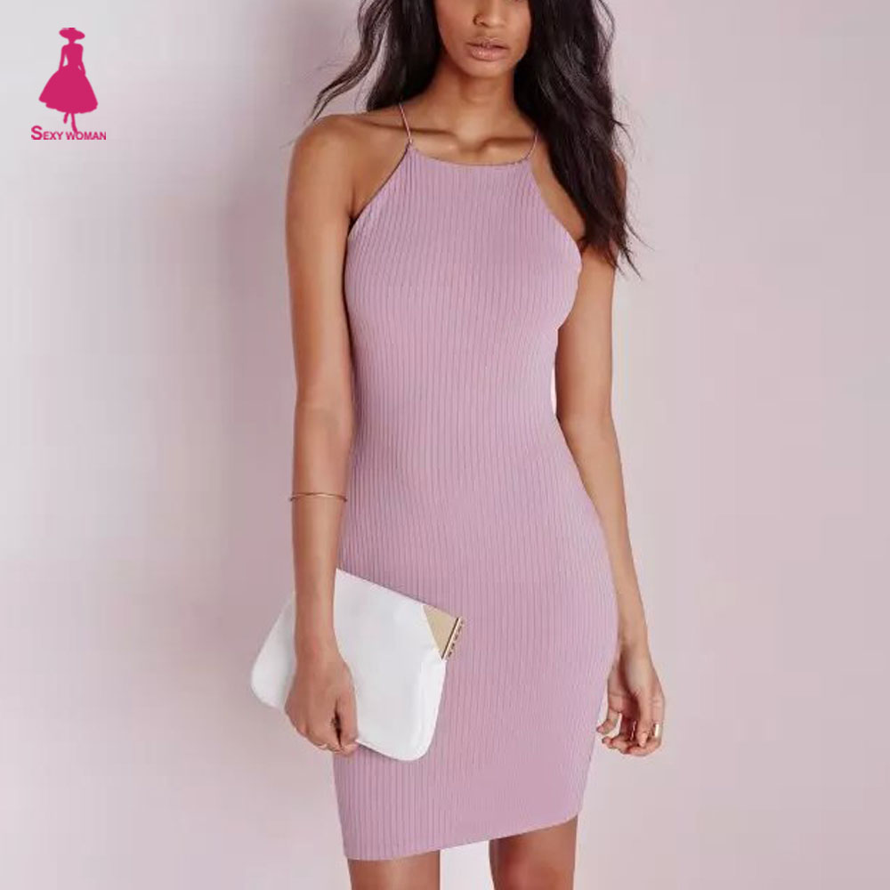 FIRSTTO Sexy Spaghetti Strap Rubber Bodycon Dress Slim Sheath Packege Hips Short Dresses Women femme 5 Color