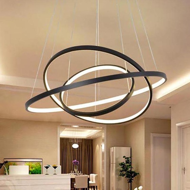 Ring circles modern led cerchio anello lampadario pendant for Living room hanging lights