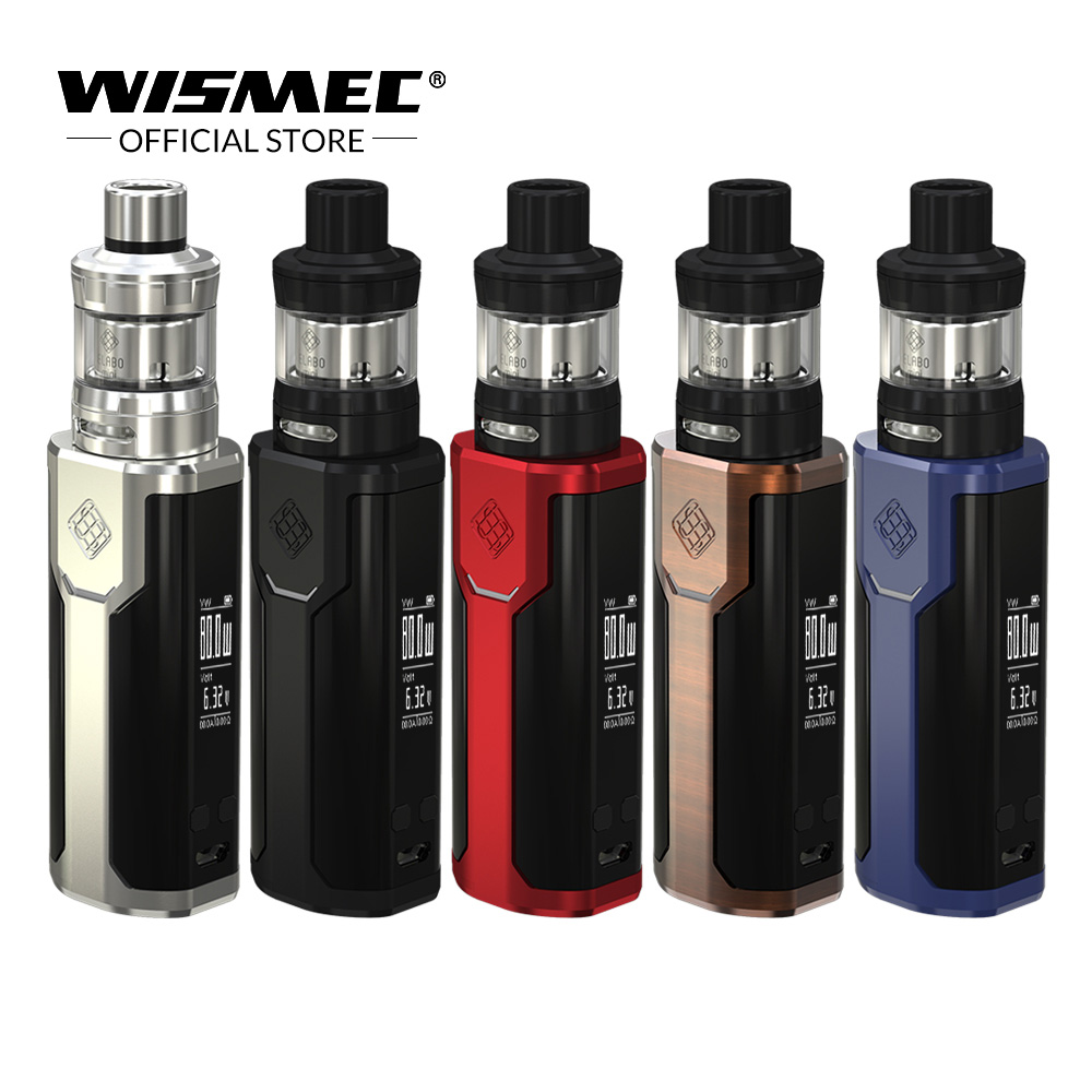 Original Wismec SINUOUS P80 Kit with Elabo Mini Tank 2ML 80W Max output Mod Box Uses single 18650 battery Electronic cigarette