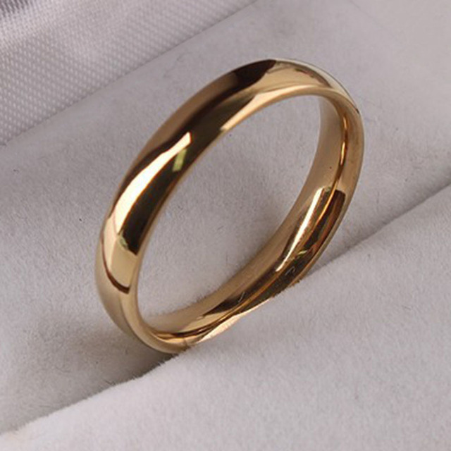 Gold colour women men wedding ring Simple smooth Steel ring No