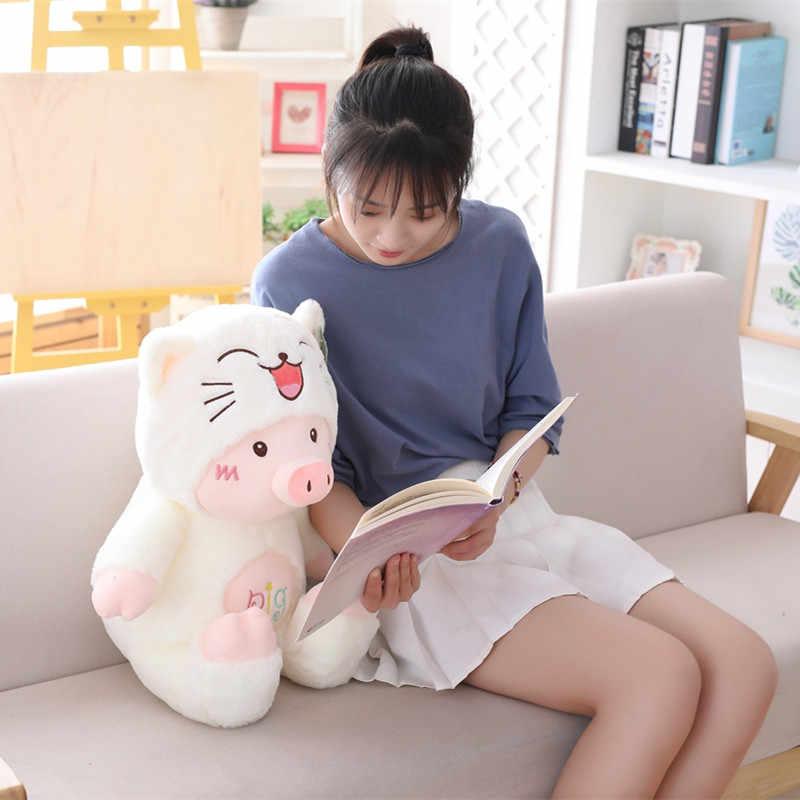 Yeni 30 cm peluş oyuncaklar Karikatür Domuz şapka Kawaii yumuşak kedi ayı köpek Sevimli Yüksek Kalite güzel noel hediyesi çocuklar için kız sıcak
