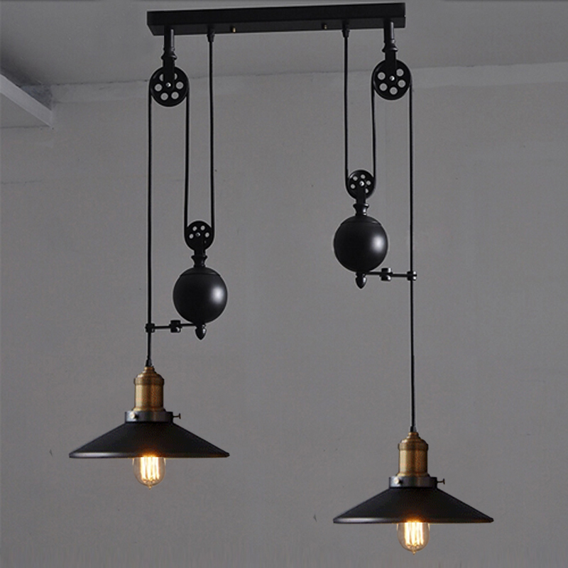 Us 146 3 5 Off Kitchen Rise Fall Lights Pulley Retro Style Pendant Lamps Black And Lighting Hanging Lamp In