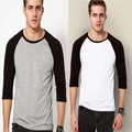 Mens 3/4 Sleeve Raglan Baseball Soft Cotton Blend Casual T Shirt O-Neck Tee Patchwork Colour Block Jersey Tops