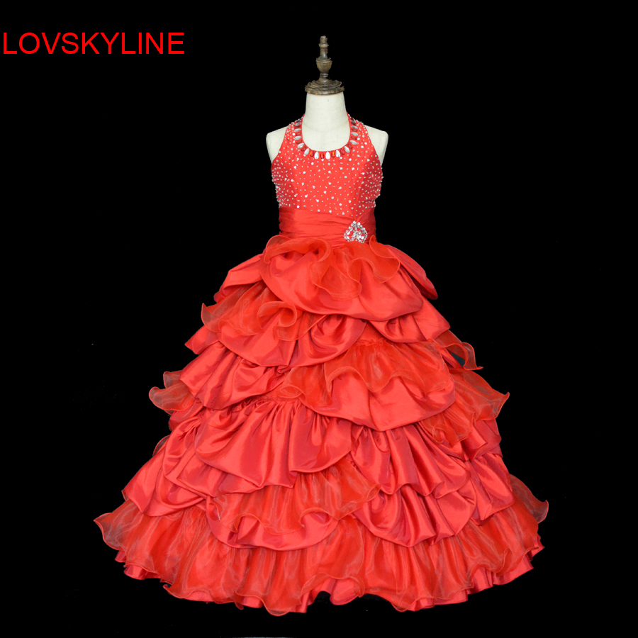 2018 Sexy Red Crystal Beaded Sequined   Girls   Pageant Gowns Halter Children Gown Shiny Off the shoulder Cheap   Flower     Girl     Dresses