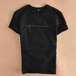 Image 1 - קיץ Mens מודפס פשתן חולצות אופנה שרוולים אותיות לנשימה פשתן חולצה מצויד קצר שרוול עגול צווארון רופף בסוודרים