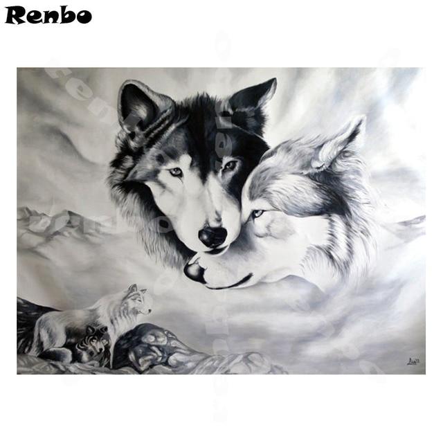 5d diy diamond embroidery Wolves wallpaper diamond painting cross stich diamond mosaic wolf full square needlework home decor
