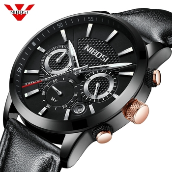 NIBOSI Relogio Masculino Mens Watches Top Brand Luxury Leather Sport Chronograph Waterproof Date Quartz Watch Men Clock Saat