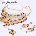 Maxi Collar Complejo Conjunto Collar de Gargantilla India Kundan Desequilibrio Diseño Hueco Tocado de Cristal Pendiente Colgante Étnico Forma de la Hoja