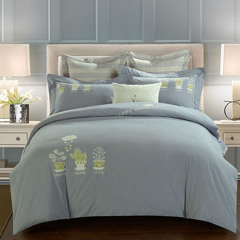 cactus Bonsai luxury embroidery 100 cotton 4PCS bedding sets solid color wash cotton duvet cover flat