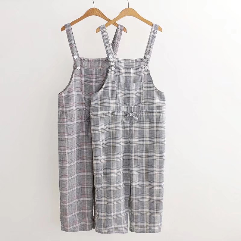 212a8e74f778 Japanese Students Girl Sweet Plaid Print Single Pocket Cotton and Linen  Strap Trousers Cute Female Rompers Pants Summer New 2018