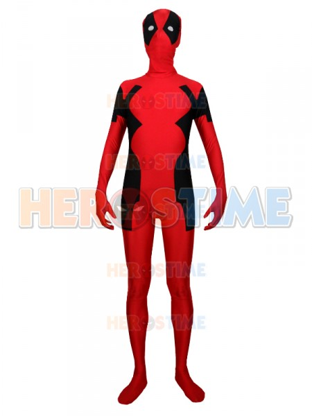 Red And Black Spandex Male Deadpool Costume Zentai Cosplay Superhero Costume with hood custom size available