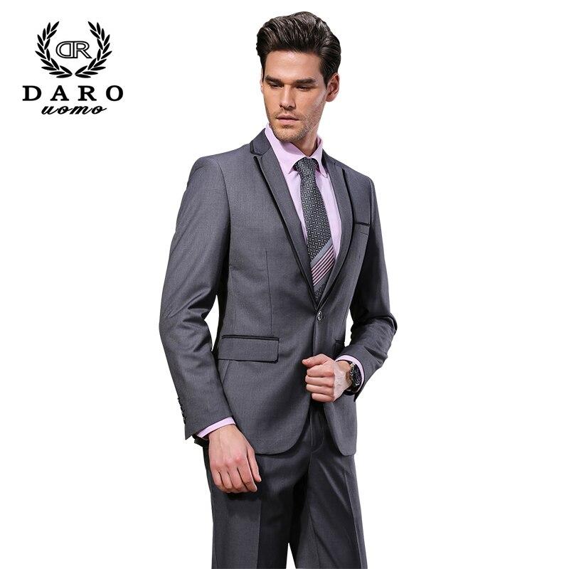 2019 DARO Mannen Past Slim Custom Fit Tuxedo Grijs pak en Broek Merk - Herenkleding - Foto 2