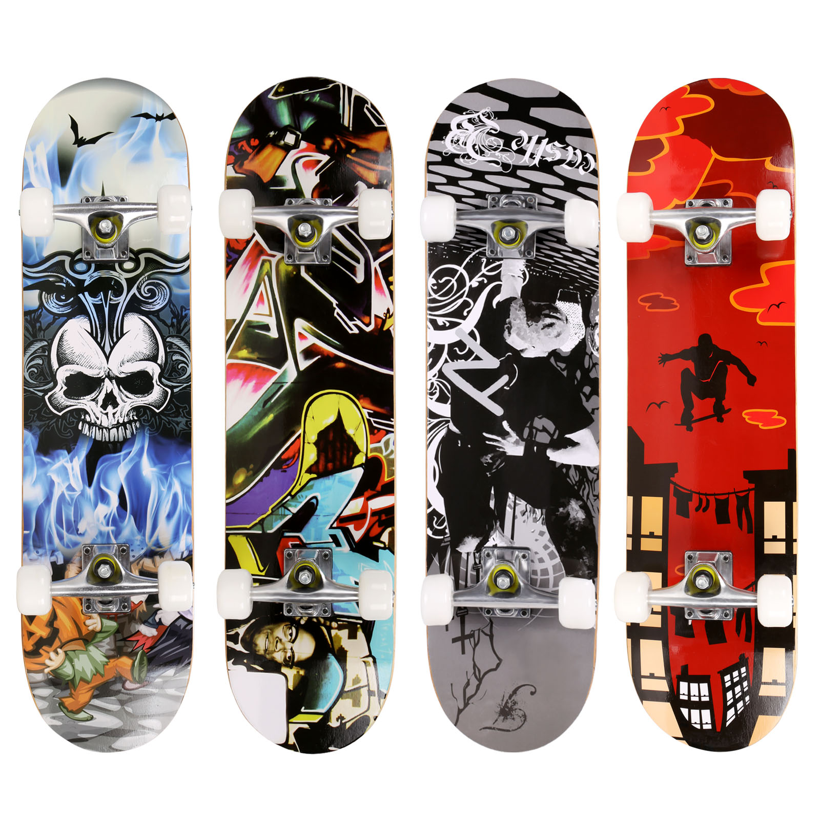 Brand PRO Skull Pattern Longboard Skateboard Complete Deck Wood Deck Skate Board Outdoor Extreme Sports Long Board Hoverboard shell starfish deck pattern indoor outdoor area rug
