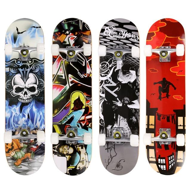 Brand Pro Skull Pattern Longboard Skateboard Complete Deck