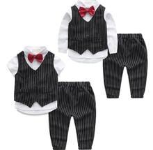 2016 Summer Autumn New Boy Sets Black Stripe Three Piece Gentleman Outfits Suit Children Clothing 12256
