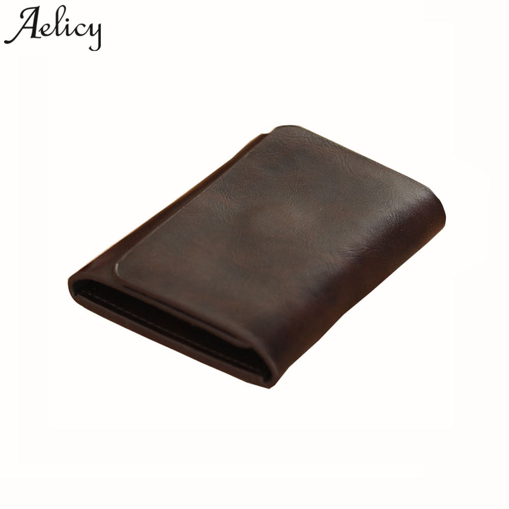 Aelicy 2018 New Wallet Leather Men Wallets Short Male Purse Card Holder Wallet Men Fashion High Quality Wallet for Credit Cards business card holder leather cards id credit card holder book case keeper organizer wallet men wizytownik