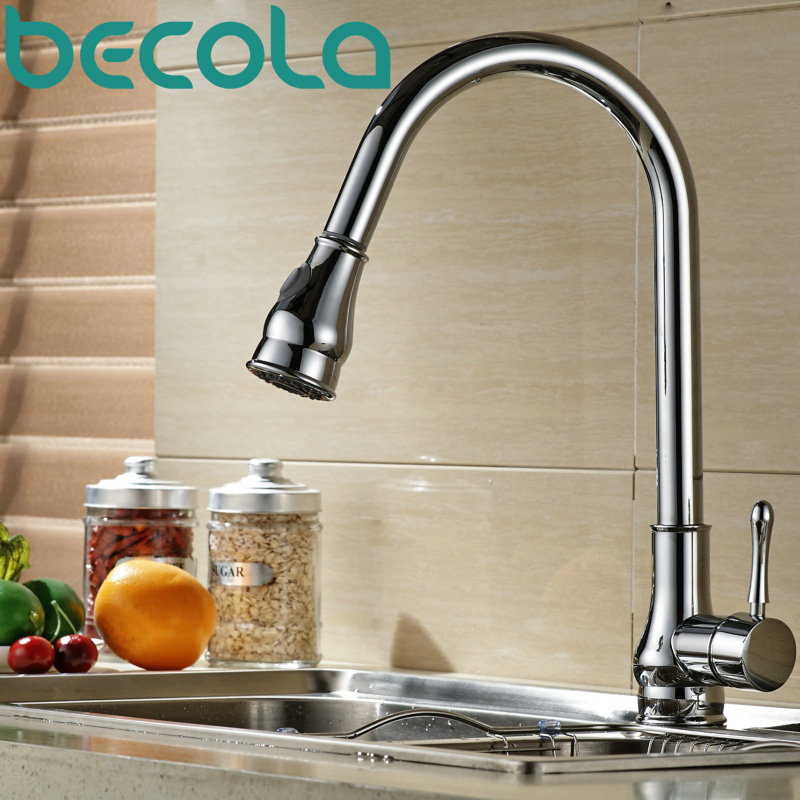 free shipping becola NEW Design Pull Out Kitchen Faucet Brass Chrome kitchen mixer Swivel Sink Tap B-9206C цена 2017