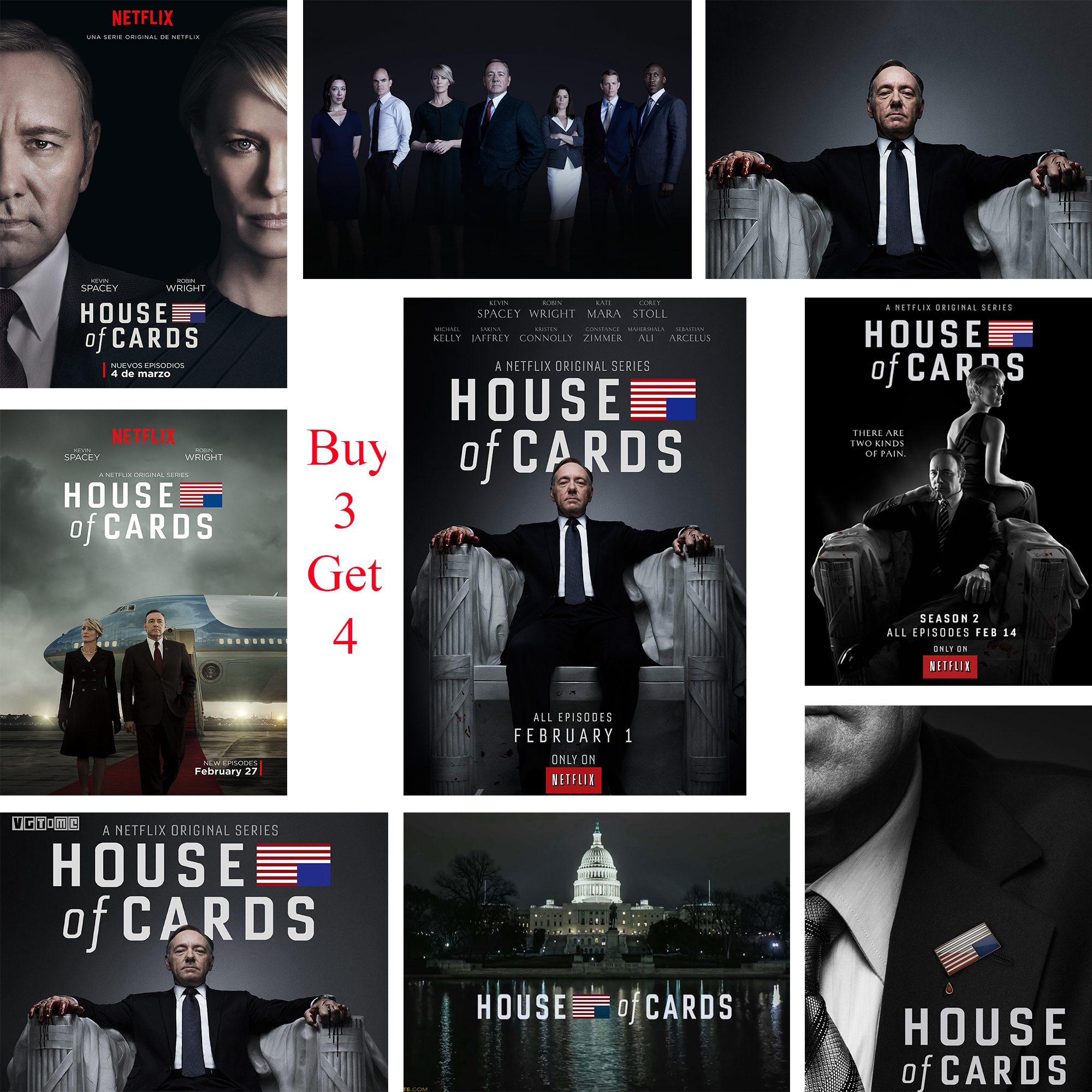 House of Cards Posters Wall Stickers White Coated Paper Prints Clear Image Home Decoration Livingroom Bedroom Bar Home Art Brand